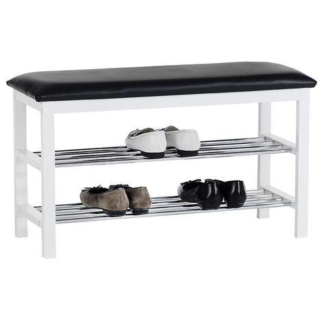 Meuble à chaussures SANA banc avec assise et 2 étagères rangement pour 8 paires en bois massif de coloris blanc et coussin noir