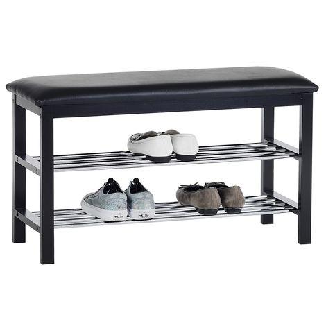 Meuble à chaussures SANA banc avec assise et 2 étagères rangement pour 8 paires en bois massif de coloris noir
