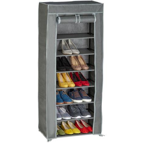 Meuble à chaussures tissu, 8 compartiments, 24 paires, housse amovible, HxLxP 140 x 60 x 30 cm, anthracite