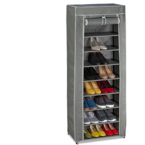 Meuble à chaussures tissu, 9 compartiments, 27 paires, housse amovible, HxLxP 150 x 60 x 30 cm, anthracite