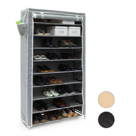 Meuble à chaussures VALENTIN Housse en tissu étagère armoire range-chaussures 10 Étages HxLxP 161 x 88 x 30 cm pour 45 paires de chaussures fermeture éclair range-souliers, anthracite