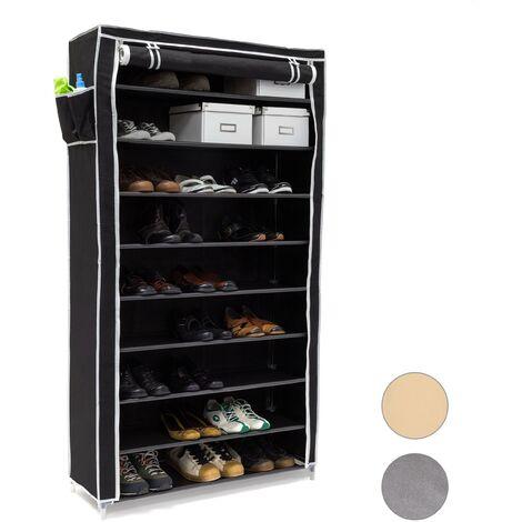 Meuble à chaussures VALENTIN Housse en tissu étagère armoire range-chaussures 10 Étages HxLxP 161 x 88 x 30 cm pour 45 paires de chaussures fermeture éclair range-souliers, noir