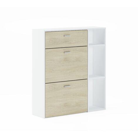 Meuble à chaussures WIND, Puccini, Blanc 2 portes+tiroir, 90x26x101.5