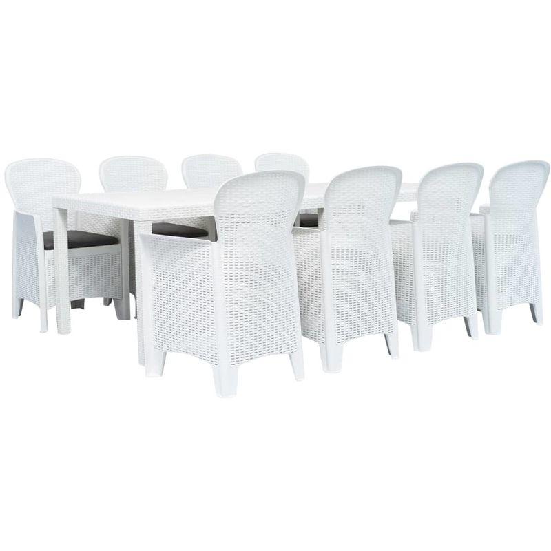 Meuble à dîner d'extérieur 9pcs Plastique Blanc Aspect de rotin