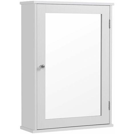 Meuble à miroir 1 porte Amoire de salle de bain Meuble mural avec étagère Style cottage Blanc Dimensions 41 x 14 x 60cm (L x l x H) LHC001