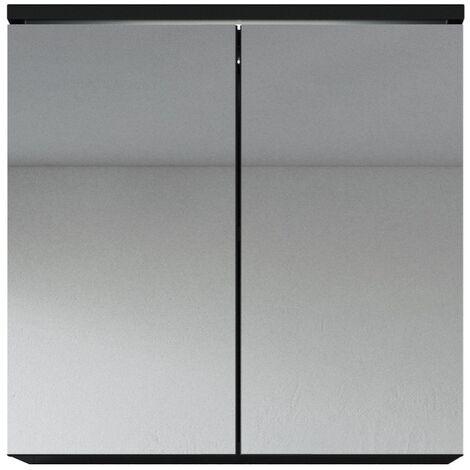 Meuble a miroir 60x59 cm toledo noir miroir armoire miroir salle de bains verre armoire de - Miroir salle de bain noir ...