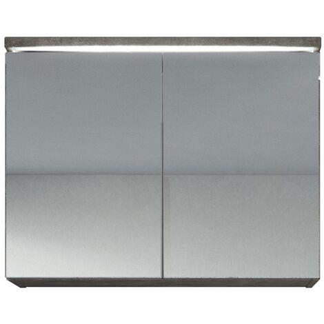 Meuble a miroir 80x60 cm Beton - Miroir armoire miroir salle de bains verre armoire de rangement