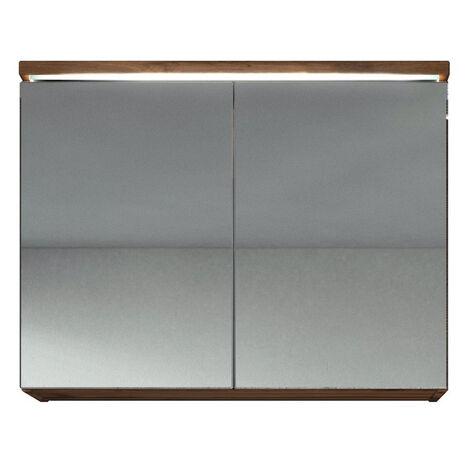 Meuble a miroir 80x60 cm Wotan Marron - Miroir armoire miroir salle de bains verre armoire de rangement