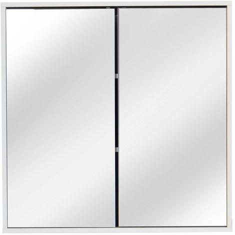 Meuble À Miroir Armoire Murale Placard Étagère Rangement Salle De Bain Toilette 60 * 60 * 14.5Cm