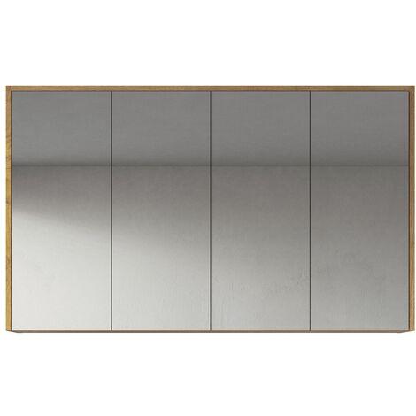 Meuble a miroir Cuba 120x72 cm F. Oak - Miroir armoire miroir salle de bains verre armoire de rangement - Chene