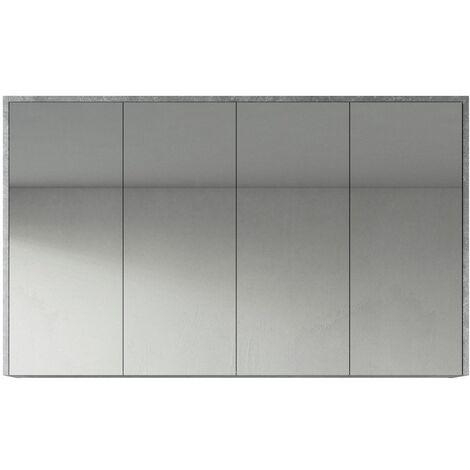 Meuble a miroir Cuba 120x72 cm Gris - Miroir armoire miroir salle de bains verre armoire de rangement - Gris