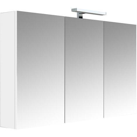 Meuble à miroir JUNO - armoire de rangement pour salle de bain avec éclairage LED et bloc prise