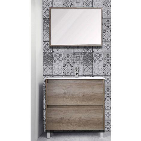 Meuble à poser 80 cm Helia, finition chêne + vasque + miroir
