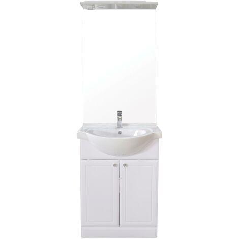 Meuble à poser AZURO - 60cm - Blanc - PVC brillant - Livré en kit
