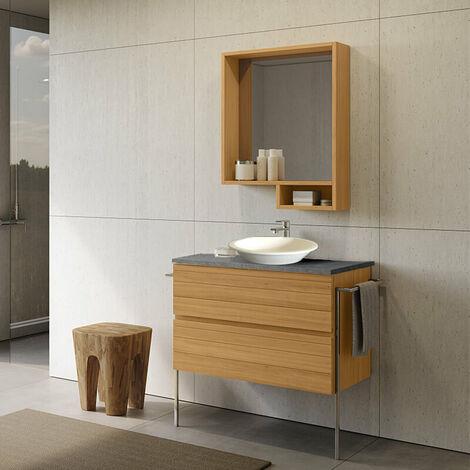 Meuble à suspendre 80 cm Aspect teck avec plan vasque en céramique -2 tiroirs - Lago