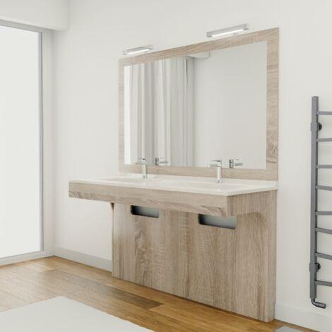Meuble ALTEA 140 cm avec plan vasque et miroir - Décor cambrian oak