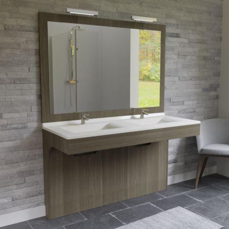 Meuble ALTEA 140 cm avec plan vasque et miroir - Décor vienna