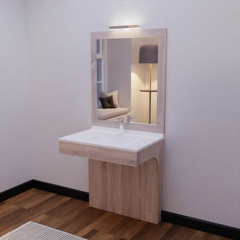 Meuble ALTEA 80 cm avec plan vasque et miroir - Décor cambrian oak