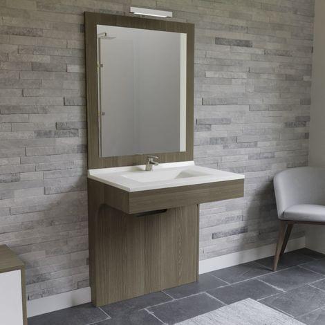Meuble ALTEA 90 cm avec plan vasque et miroir - Décor Vienna