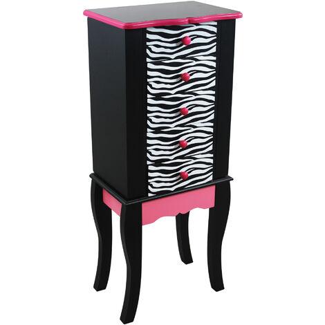 Meuble armoire à bijoux présentoir commode en bois motif léopard rose et noir Teamson Kids TD-11672B