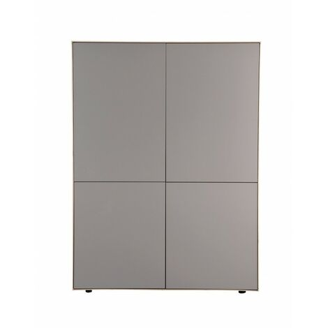 Meuble armoire TAUPE mat et décor chêne - placard 4 portes - OMEGA