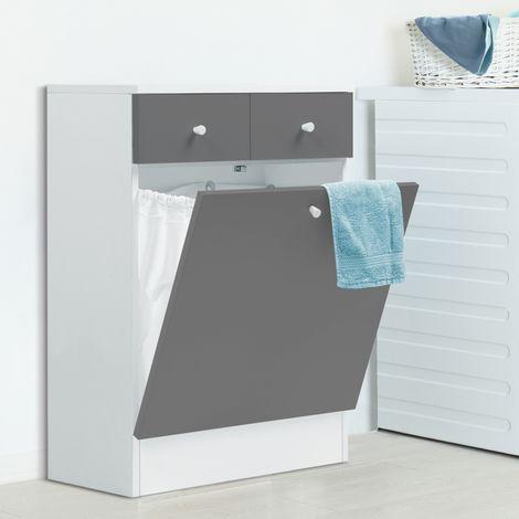 meuble avec bac linge int gr en bois gris blanc 13350. Black Bedroom Furniture Sets. Home Design Ideas