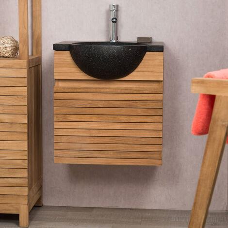 Meuble avec vasque de salle de bain en teck 50 CONTEMPORAIN noir