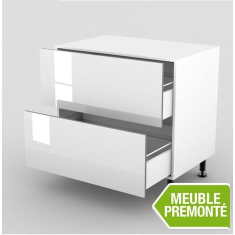Meuble Bas 100cm 2 Casseroliers 70x100 Cristal Blanc Mcb 100cm