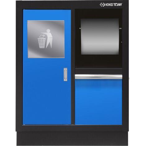 Meuble bas bleu avec poubelle intégrée et support rouleau papier - 680 x 910 x 460 mm
