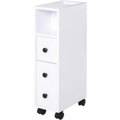 Meuble bas colonne rangement salle de bain à roulettes blanc dim. 18L x 30l x 68,5H cm
