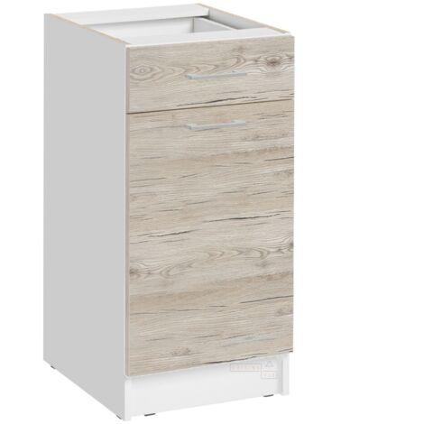 Meuble bas de cuisine - 1 porte + 1 tiroir L 40 cm - décor noyer blanchi - Noyer blanchi.