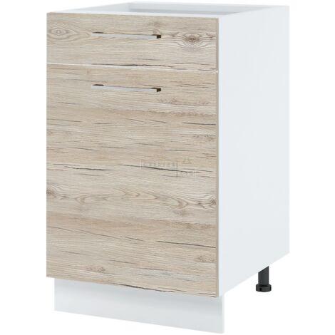 Meuble bas de cuisine - 1 porte + 1 tiroir, L 60 cm - Noyer blanchi.