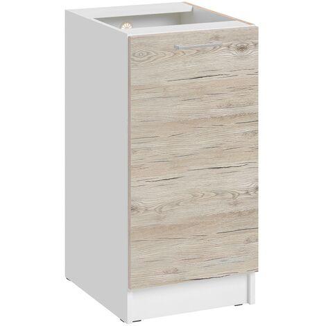 Meuble bas de cuisine - 1 porte L 40 cm - décor noyer blanchi - Noyer blanchi.