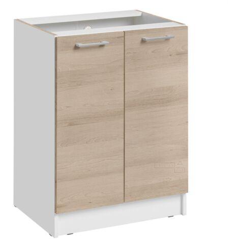 Meuble bas de cuisine - 1 porte, L 60 cm - décor chêne naturel - Chêne naturel