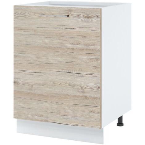 Meuble bas de cuisine - 1 porte, L 60 cm - Noyer blanchi.