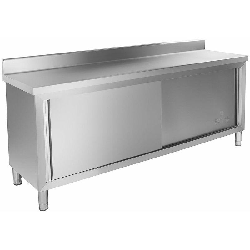 Meuble bas de cuisine 200x60 cm avec rebord acier inoxydable - Or