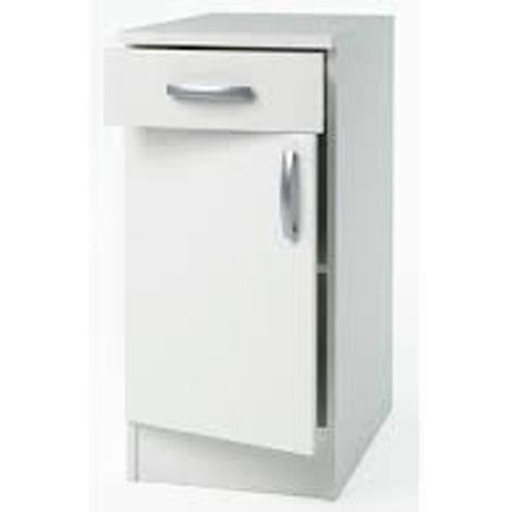 Meuble Bas de cuisine coloris blanc - Dim : 40,1 x 85 x 60 cm - PEGANE -