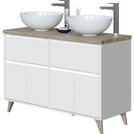 """main image of """"Meuble bas de salle de bain , 2 portes coloris Alaska chêne à nœuds/Blanc brillant - hauteur 80 x Longueur 120 x Profondeur 46 cm"""""""