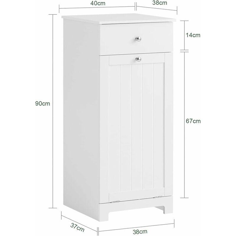 Blanc Armoire 1 tiroirs 2 paniers bois Salle de Bain Meuble de rangement Panier conteneur