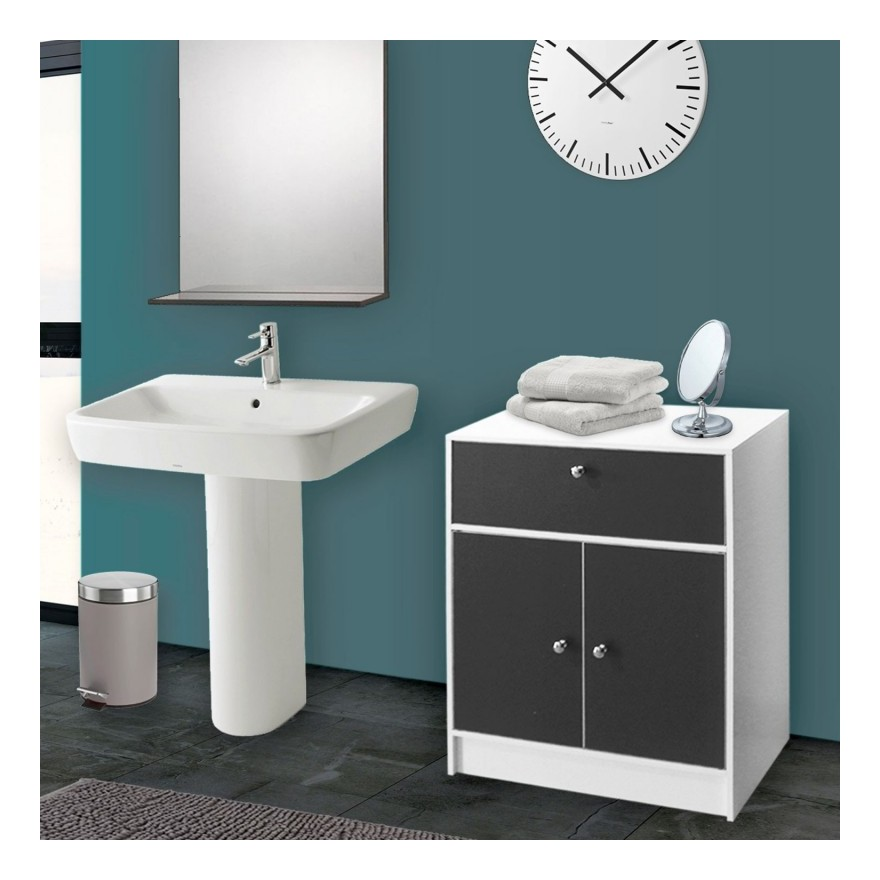 meuble bas de salle de bain blanc et gris commode de rangement. Black Bedroom Furniture Sets. Home Design Ideas