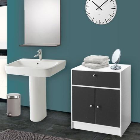 Meuble bas de salle de bain blanc et gris commode de rangement - 12597