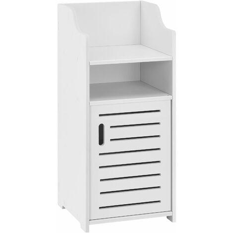 Meuble bas pour salle de bain meuble colonne de rangement à porte avec plusieurs compartiments de stockage 72 cm blanc - Blanc
