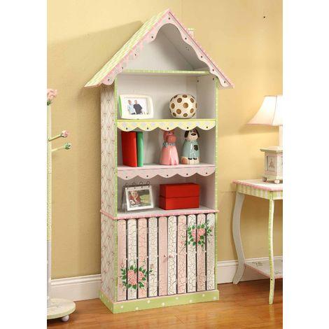 Meuble bibliothèque en bois enfant fille avec 1 placard de rangement livre jouet Fantasy Fields W-6927A