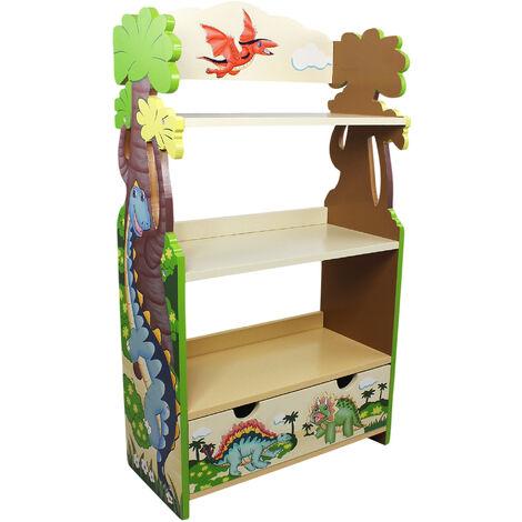 Meuble bibliothèque en bois enfant mixte rangement dinosaure livre jouet Fantasy Fields TD-0069A