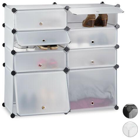 Meuble chaussures plastique étagère 8 casiers système plug-in portes HxlxP: 91 x 94,5 x 36,5 cm, transparent