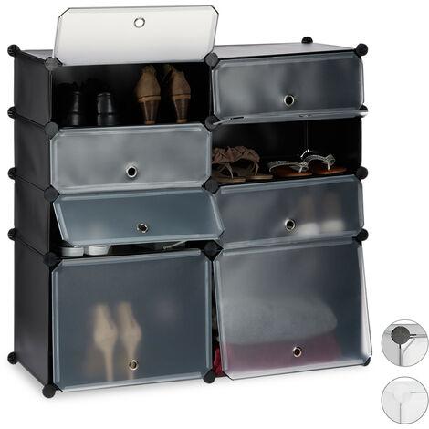 Meuble chaussures plastique étagère 8 casiers système plug-in rangement HxlxP: 91 x 94,5 x 36,5 cm, noir