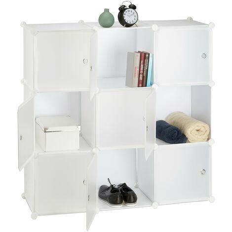 Meuble chaussures plastique étagère 9 cubes casiers système plug-in portes HxlxP: 110 x 110 x 37 cm, blanc