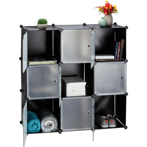 Meuble chaussures plastique étagère 9 cubes casiers système portes armoire HxlxP: 110 x 110 x 37 cm, noir