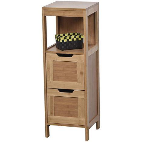 Meuble colonne bas Mahe Porte en Bambou Armoire et 2 tiroirs Plus 1 étagère en MDF, Bois