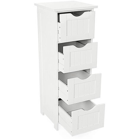 Meuble Colonne de Salle de Bain Armoire Meuble de rangement – 4 tiroirs- Blanc